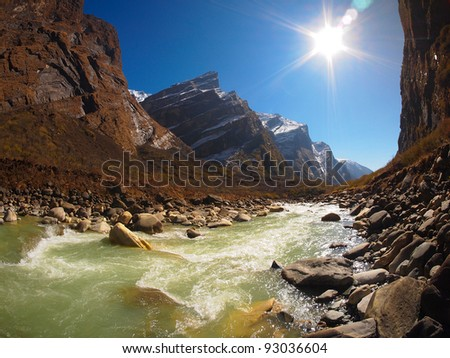 Annapurna Himal region of north central Nepal - stock photo