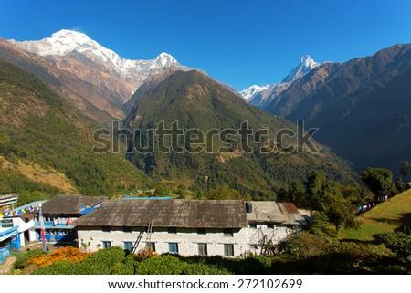 Annapurna I Himalaya Mountains in Nepal - stock photo