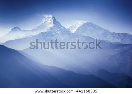 Annapurna mountains in sunrise light Himalaya, Nepal