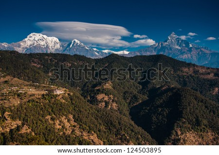 Annapurna Range, Machapuchre & South annapurna - stock photo