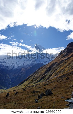 Annapurna South in the Himalayan mountains