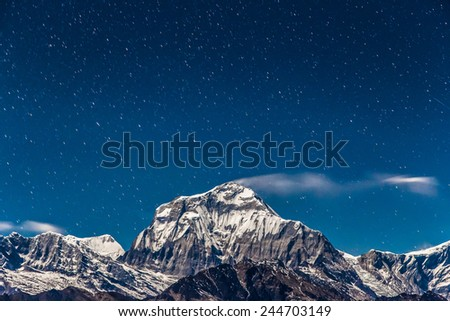 Annapurna South in the night, Himalayas, Nepal - stock photo