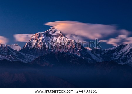 Annapurna South in the sunset, Himalayas, Nepal - stock photo