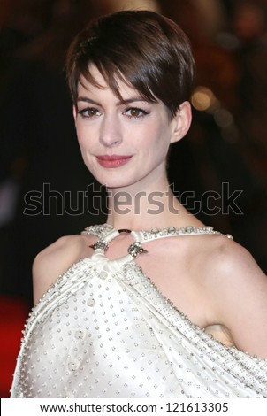 Anne Hathaway arriving at the World Premiere of 'Les Miserables' held at the Odeon & Empire Leicester Square, London. 05/12/2012 Picture by: Henry Harris - stock photo