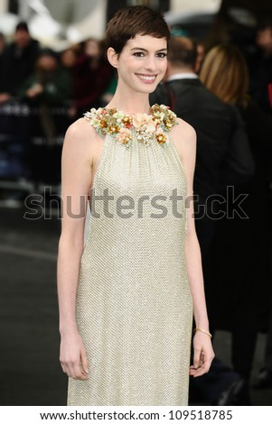 """Anne Hathaway arriving for European premiere of """"The Dark Knight Rises"""" at the Odeon Leicester Square, London. 18/07/2012 Picture by: Steve Vas / Featureflash - stock photo"""