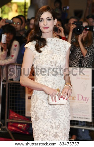 Anne Hathaway arriving for the European Premiere of 'One Day' at Westfield, west London. 23/08/2011  Picture by: Steve Vas / Featureflash