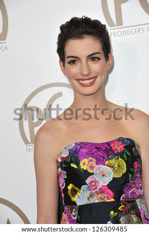 Anne Hathaway at the 2013 Producers Guild Awards at the Beverly Hilton Hotel. January 26, 2013  Los Angeles, CA Picture: Paul Smith