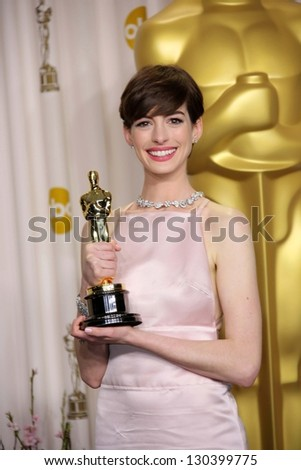 Anne Hathaway at the 85th Annual Academy Awards Press Room, Dolby Theater, Hollywood, CA 02-24-13 - stock photo
