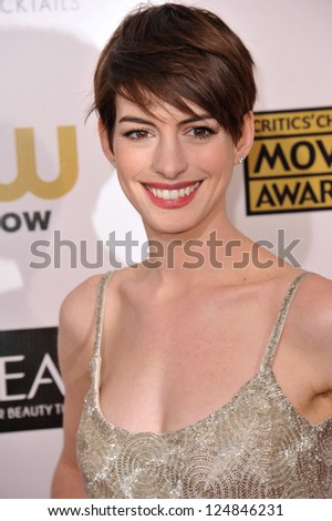 Anne Hathaway at the 18th Annual Critics' Choice Movie Awards at Barker Hanger, Santa Monica Airport. January 10, 2013  Santa Monica, CA Picture: Paul Smith - stock photo