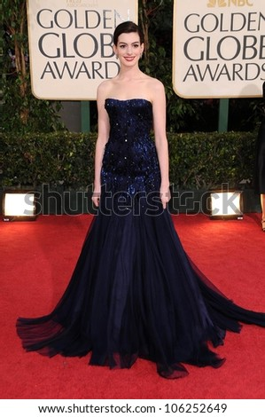 Anne Hathaway at the 66th Annual Golden Globe Awards. Beverly Hilton Hotel, Beverly Hills, CA. 01-11-09 - stock photo