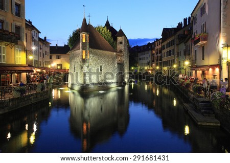ANNECY, FRANCE - AUGUST 29, 2013: Twilight view of historic centre on August 29, 2013 in Annecy, France. It is one of the most visited alpine town in Mont Blanc region. - stock photo