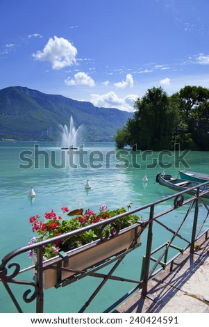 Annecy lake in France (Haute Savoie) during the summer. - stock photo