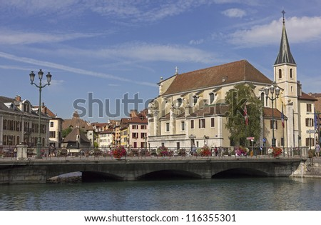 annecy views with the Palace of the Isle (Palais d'Isle)in the background, France - stock photo