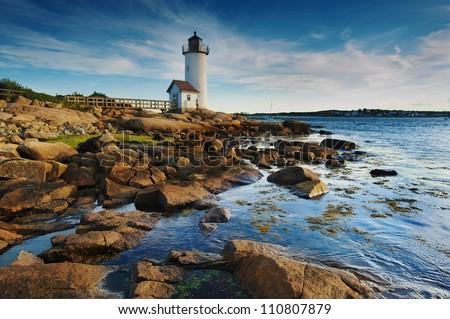 Annisquam lighthouse off the north coast of Massachusetts - stock photo