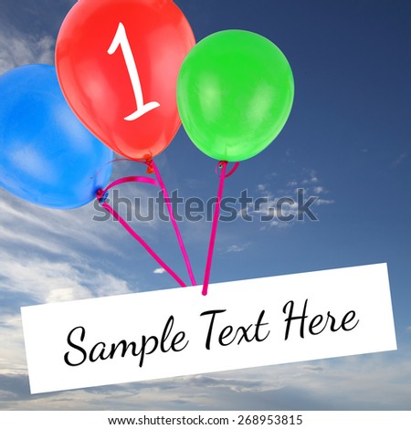 Anniversary card with copy-space and flying balloons on blue sky