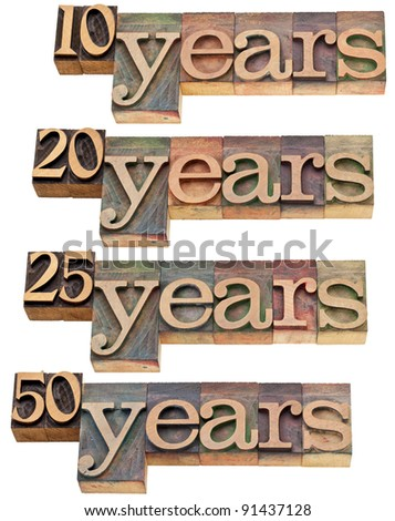 anniversary concept - 10, 20 ,25, 50 years - isolated text in vintage wood letterpress printing blocks stained by color inks - stock photo