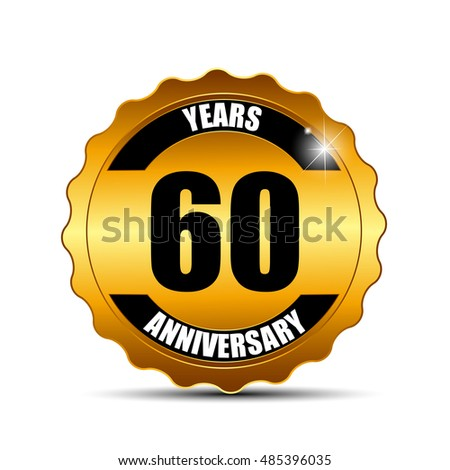 Anniversary Gild Label Sign Template  Illustration
