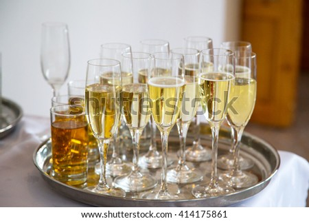anniversary glasses of champagne - stock photo