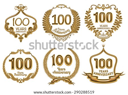 Anniversary label collection, 100 years  - stock photo
