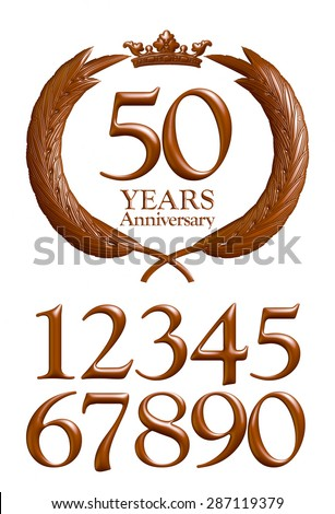Anniversary message emblem on isolated white. - stock photo
