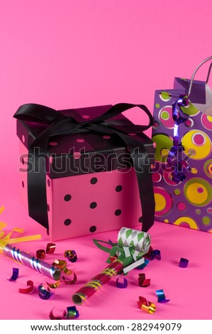 Anniversary Party with Pink Gift - stock photo