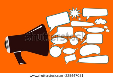 Announcement , Gossip and Advertisement concept - stock photo