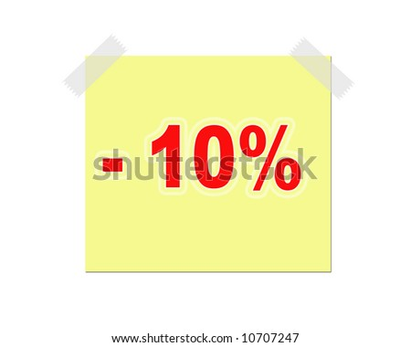 announcement note with 10 per cent discount - stock photo