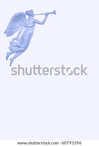 Announcement pattern with angel playing trumpet - stock photo
