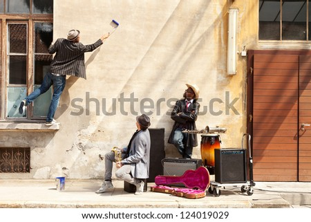 Announcement, tonight blues band in exterior. - stock photo
