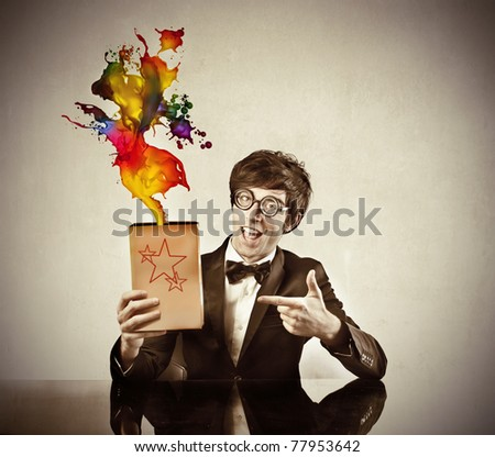 Announcer advertising a magic product - stock photo
