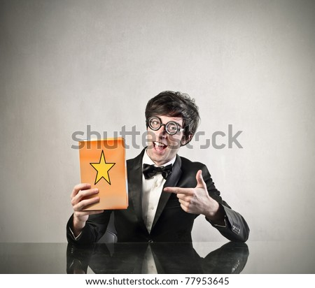 Announcer advertising a product - stock photo