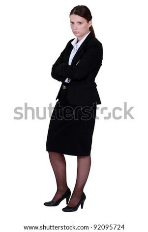 Annoyed businesswoman - stock photo