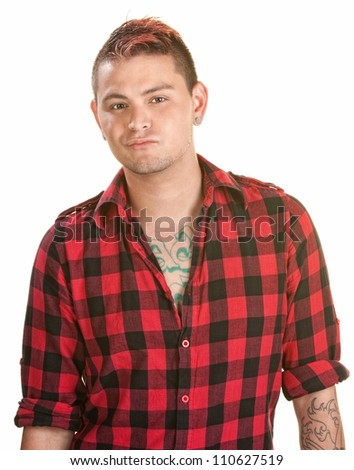 Annoyed male with spiky hair over white background - stock photo
