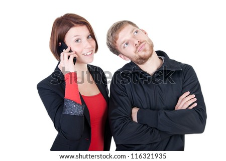 Annoyed man waiting for the phone - stock photo