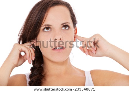 Annoyed young woman. All on white background. - stock photo