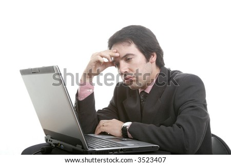 annoying man business-oriented with work problems... - stock photo