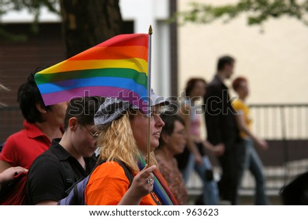 Annual gay and lesbian pride known as Christopher Street Day in Berlin, Germany - stock photo