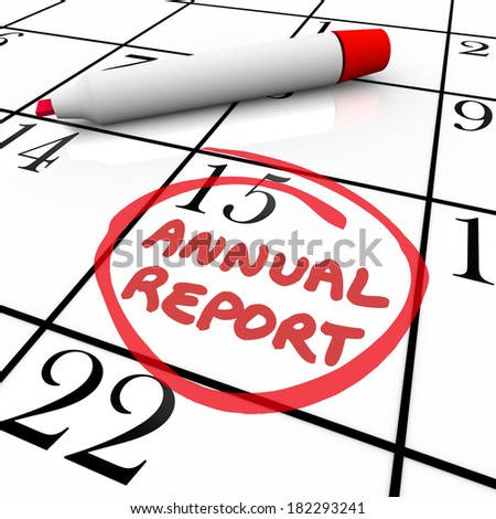 Annual Report Due Date Calendar Business Filing Release Day - stock photo