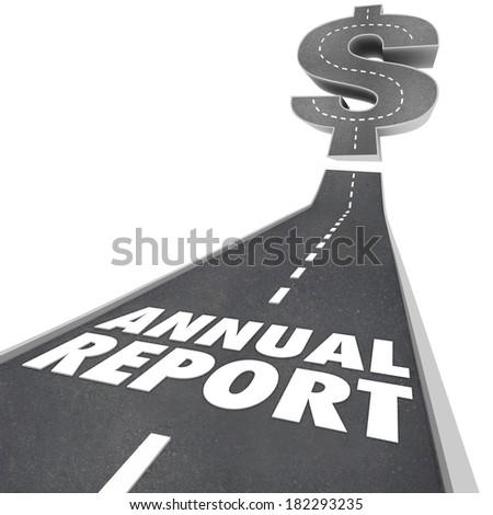 Annual Report Words Road Increase Business Profits Revenue Money - stock photo