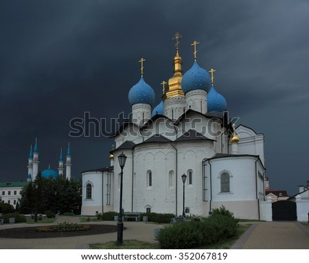 Annunciation Cathedral of the Kazan Kremlin before a storm in Kazan, Tatarstan, Russia. - stock photo