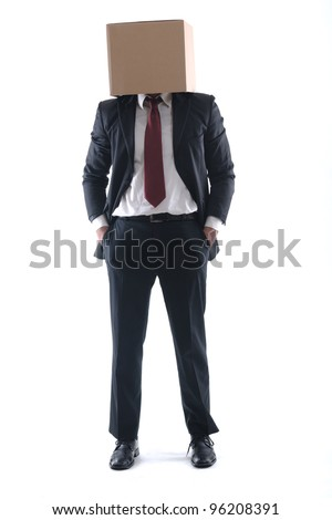 anonymous business man with a cardboard box on his head concealing his identity - stock photo