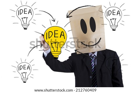 Anonymous businessman writing idea and drawing a light bulb as a symbol for creativity