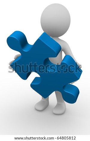 Anonymous 3d man holding a puzzle piece - stock photo