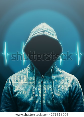 Anonymous hacker against abstract background with heart rate and audio speaker - stock photo