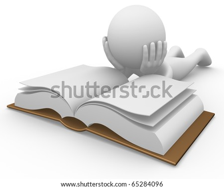 Anonymous man reading a book on the floor - stock photo