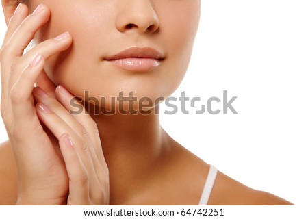 Anonymous portrait of young woman head and hands over isolated white background - stock photo