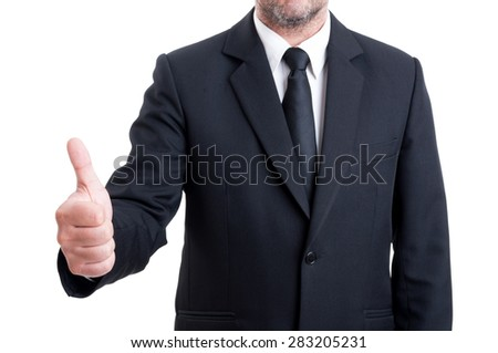 Anonymus business man showing thumb up or ok gesture isolated on white background - stock photo