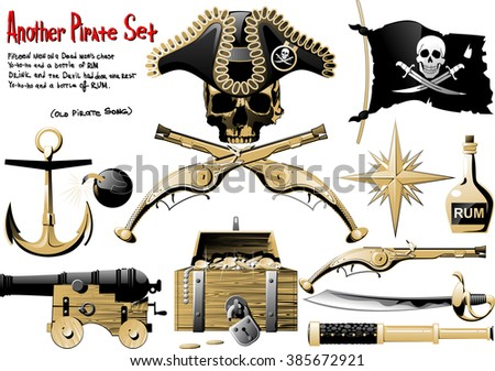 Another big Pirate Set with arms, treasures and pirate symbol - stock photo