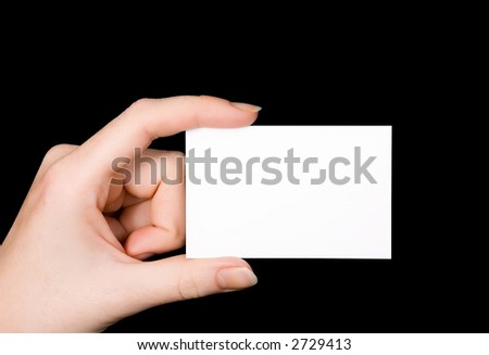 Another empty white Business Card isolated on black/slight blue background. Great for your own ideas and concepts! 7 - stock photo