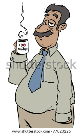 Another lousy Monday. Coming to work tired from a weekend that wasn't long enough. - stock photo